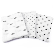 Swaddle Blankets - 3 Pack Unisex Large 120cm x 120cm - 100% Soft Breathable Muslin Cotton Receiving Wrap - Classic Black & White Designs - Burp Cloth For Babies - Perfect Baby Shower Gift For Boys & Girls