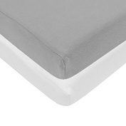 Pindaboo Fitted Crib Sheet Grey & White