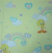 Tweety Bird Rainbow Hearts Butterflies (Flat Top Sheet Only) Size TODDLER Boys Girls Kids Bedding