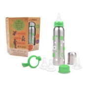 organicKidz Baby Grows Up Stainless Steel Bottle Set, 270ml - Green, Narrow Neck