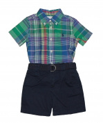 Ralph Lauren Polo Baby Boys Plaid Shirt & Chino Shorts Set