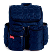 Wallaroo Nappy Bag Backpack with Stroller Straps, Wet Bag and Nappy Changing Pad - For Women and Men - BLUE