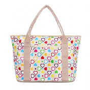 FEELING WELL Fashion Baby Nappy Hangbag for Mummy Multi-purpose Functions Tote Bag Beige Heart
