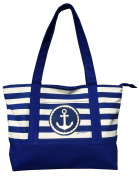 Anchor Tote Beach or Travel Bag Canvas Nave Blue & White Stripes lined with pockets inside and out. Anchor is shiny gold..