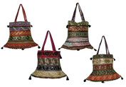 10 Cotton Ethnic Sequin Embroidered Rajasthani Style Hippie Tote Wholesale Lot Bags