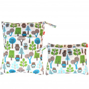Damero 2pcs Pack Travel Baby Wet and Dry Cloth Nappy Organiser Bag, Green Forest