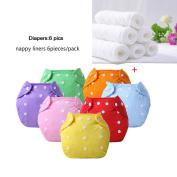 Reusable Baby Cloth Pocket Nappies, 6 pcs + 6 Inserts