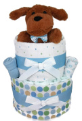 Sunshine Gift Baskets - Blue Nappy Cake Gift Set with a Fluffy Dog