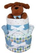Sunshine Gift Baskets - Blue Nappy Cake Gift Set with a Fluffy Dog
