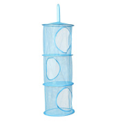 Whitelotous 3 Shelf Wall Hanging Storage Net Kids Toy Organiser Bag