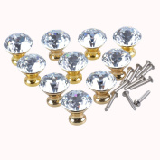 WICOO 10pcs Gold Crystal Glass Cabinet Knobs Cupboard Drawer Pulls Diameter+ Screw