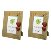 Nicola Spring Wooden Photo Picture Frame With Red Hearts - 10cm x 15cm - Pack Of 2