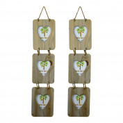 Nicola Spring Triple Heart Wooden 3 Photo Hanging Picture Frame - 10cm x 15cm - Pack Of 2