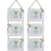 Nicola Spring Triple White Wooden 3 Photo Hanging Picture Frame With White Hearts - 15cm x 10cm - Pack Of 2