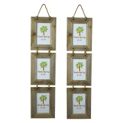 Nicola Spring Triple Wooden 3 Photo Hanging Picture Frame - 10cm x 15cm - Pack Of 2