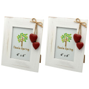 Nicola Spring White Wooden Photo Picture Frame With Red Hearts - 10cm x 15cm - Pack Of 2