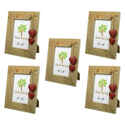 Nicola Spring Wooden Photo Picture Frame With Red Hearts - 10cm x 15cm - Pack Of 5