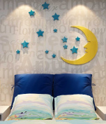 DecorSmart Plastic 3d Stars and the Moon Wall Decal for Living Room Bedroom Sofa Backdrop Tv Wall Background, Originality Stickers Gift, DIY Wall Decal Wall Decor Wall Decorations (52(H) x 39