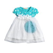 GBSELL Kid Girls Summer Short Sleeve Splice Dot Tulle Party Dress