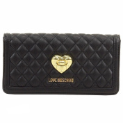 Love Moschino Women's Black Quilted Leather Clutch Shoulder Handbag