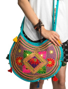 Hippie Sling Handmade Crossbody Bag Boho Chic Patchwork Embroidered Shoulder Purse, Gypsy Turquoise Blue