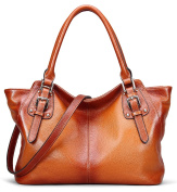 AINIMOER Women Vintage Soft Genuine Leather Tote Shoulder Bag Top-handle Cross body Handbags Ladys Purse
