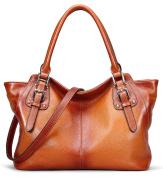 AINIMOER Women Vintage Soft Genuine Leather Tote Shoulder Bag Top-handle Cross body Handbags Ladys Purse
