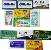 70 FEATHER CRYSTAL 7 O'clock SHARK ASTRA SILVER BLUE DERBY SHARP 7 A.M. Double Edge Safety Razor Blade Sampler