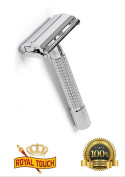 Royal Touch Heavy Duty Safety Razor - Comes with 5 blades - Non Slip - High Quality - Fits all Double Edge blades