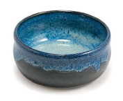 Hand Thrown Lather Bowl, Two-Toned Blue