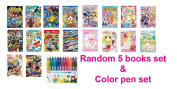 Showa Colouring Art Books Random 5 Book SET B5, & Pentel Coloured pencil Dragon Ball One Piece Pokemon Kamen Rider Doraemon Yokai Watch BonBon Ribbon Aikatsu! Spoon Pets