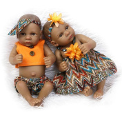 Dollshow Realistic Reborn Baby Black Girl and Boy Couple Preemie Dolls Waterproof Full Silicone Twins Toys 11inch 27CM