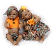 Dollshow Realistic Reborn Baby Black Girl and Boy Couple Preemie Dolls Waterproof Full Silicone Twins Toys 11inch 27CM