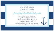 48 Navy Stripes Anchor Light Blue Bring a Book Baby Shower Card
