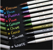 XMJ Set of 10 Colours Metallic Marker Pens Gold Silver White Pink Ink Card Making NEW