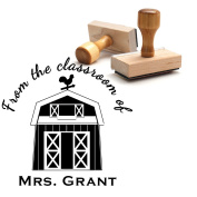 Custom Barn Farm House Book Stamp From the Classroom Stamp Library of Teacher Gift Customizable Student Pupil Stamp This Belongs to Labels Personalised Circle