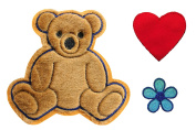 Altotux Brown Teddy Bear Red Heart Blue Flower Kaylee Firefly Costume Embroidered Sew On Patches Applique DIY Cosplay Craft Supplies