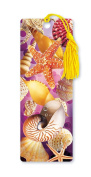 Dimension 9 3D Lenticular Bookmark with Tassel, Pink Sea Shell Collage with Starfish