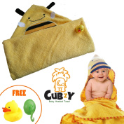 Baby bath towel, Baby Hooded Towel by Cubzy, cute & comfy for babies and toddlers with a free rubber duck and a hook!