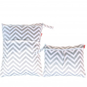 Damero 2pcs Pack Travel Baby Wet and Dry Cloth Nappy Organiser Bag, Grey Chevron