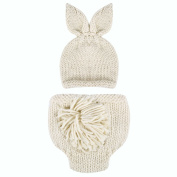 Easydeal Newborn Baby Boy Girl Handmade Rabbit Outfits Knitted Crochet Photography Props Bunny Hat Pompom Pants Set