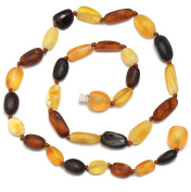 Hand Made Baltic Amber Teething Necklace for Babies - Safety Knotted - Beans Shape - Raw - Genuine Amber
