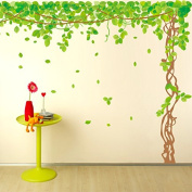 SWORNA Nature Series SN040 Lovely Large Green Tree Removable Vinyl DIY Wall Art Decor Decal Mural Sticker Kids Baby Nursery Living/Sitting Room Playroom Kindergarten Bedrooom Study Hallway 200cm H X 230cm W