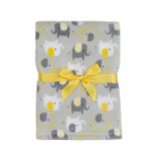 Baby Gear Plush Boa Ultra Soft Baby Boys Blanket 30 x 40 Grey Yellow Elephants