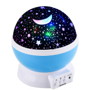 i-Kawachi(TM) Baby Night Light Moon Star Projector 360 Degree Rotation - 4 LED Bulbs 9 Light Colour Changing With USB Cable