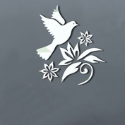 Alrens(TM)Silver Peace Dove Pigeon Flowers Olive Branches Patterns Wall Decals DIY 3D Acrylic Mirror Surface Wall Sticker Living Room Nursery Bedroom Mural Decal adesivo de parede Home Decoration