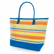 Womens/Ladies Stripe Pattern Woven Canvas Summer Handbag
