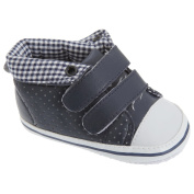 Baby Boys Gingham Lined Velcro Strap Shoes/Trainers