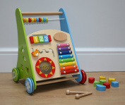 Wooden Baby Walker with activity centre and bricks