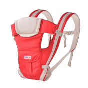 Angelparty Soft Cotton Ergonomic Baby Carrier | Adjustable 4 Positions Front and Back Carrier | Pouch Bag Wrap Soft Structured Ergonomic Infant Sling | Red